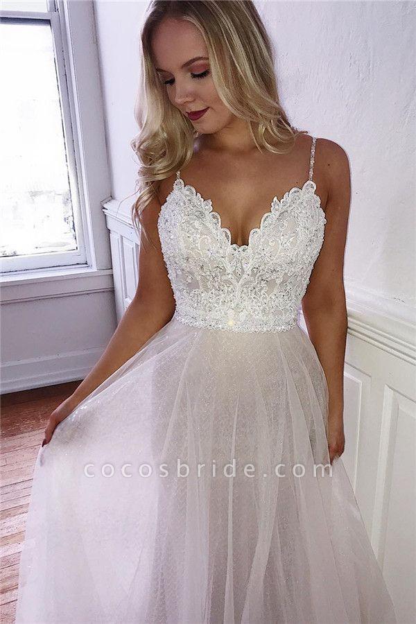 Precious Spaghetti Straps Appliques A-line Prom Dress
