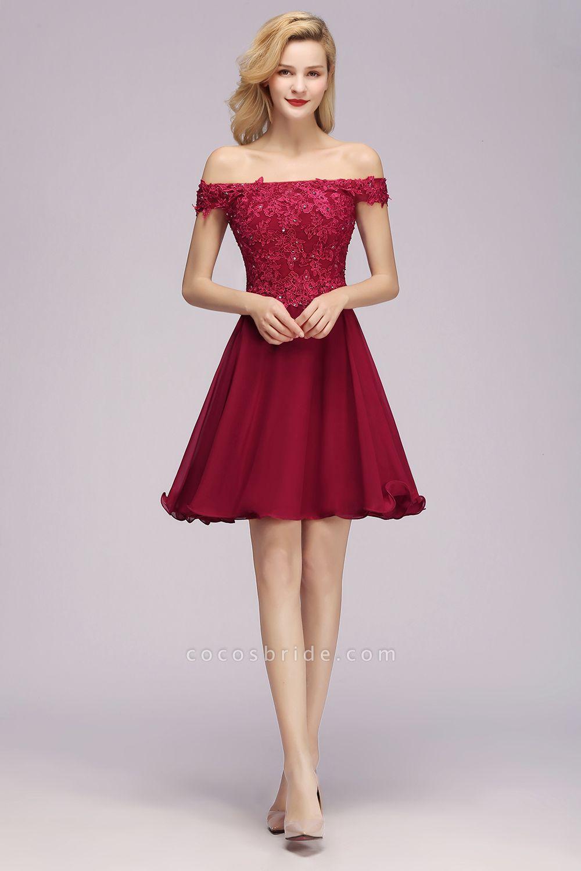 BM0793 Elegant Lace Off-the-Shoulder Short Bridesmaid Dress