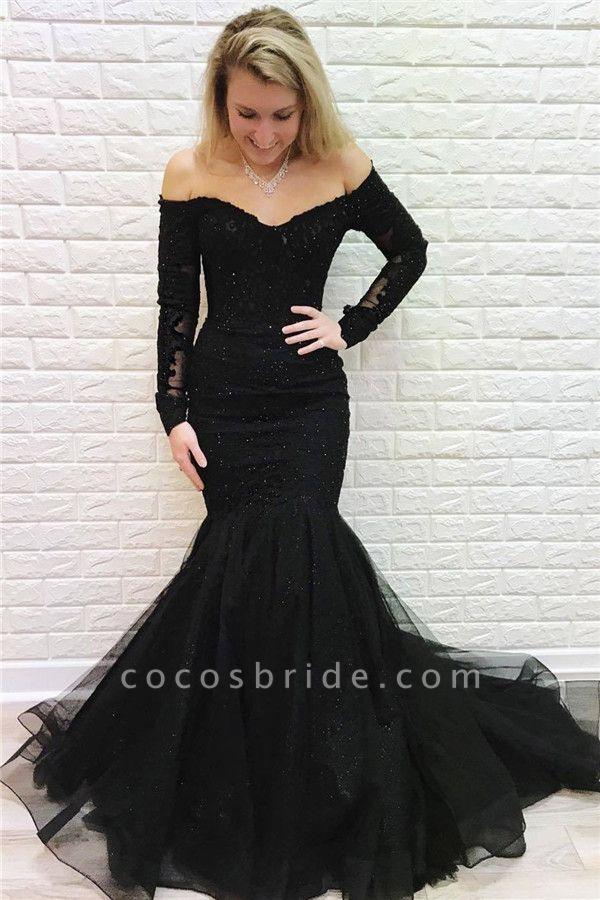 Wonderful Off-the-shoulder Appliques Mermaid Evening Dress