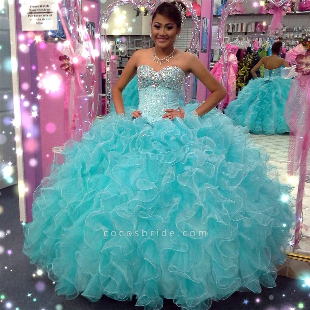 Latest Sweetheart Tulle Ball Gown Quinceanera Dress