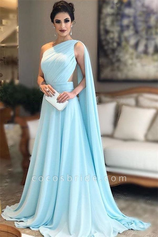 Modest One Shoulder A-line Evening Dress