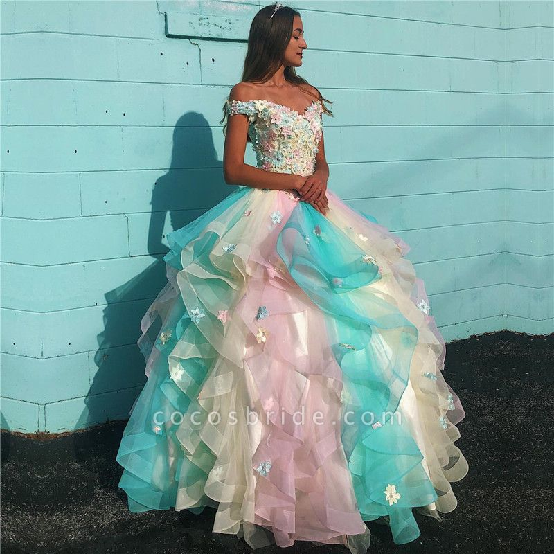 Attractive Off-the-shoulder Tulle Ball Gown Quinceanera Dress