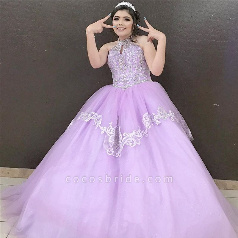 Beautiful High Neck Tulle Ball Gown Quinceanera Dress