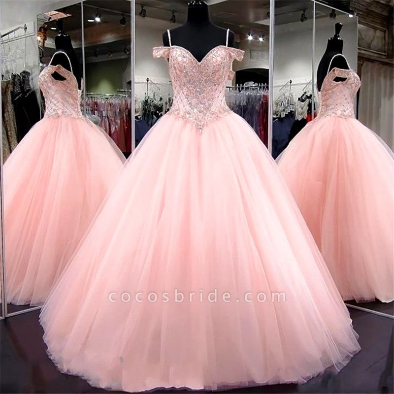 Wonderful Spaghetti Straps Tulle Ball Gown Quinceanera Dress