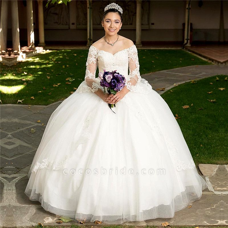 Glorious Off-the-shoulder Tulle Ball Gown Quinceanera Dress
