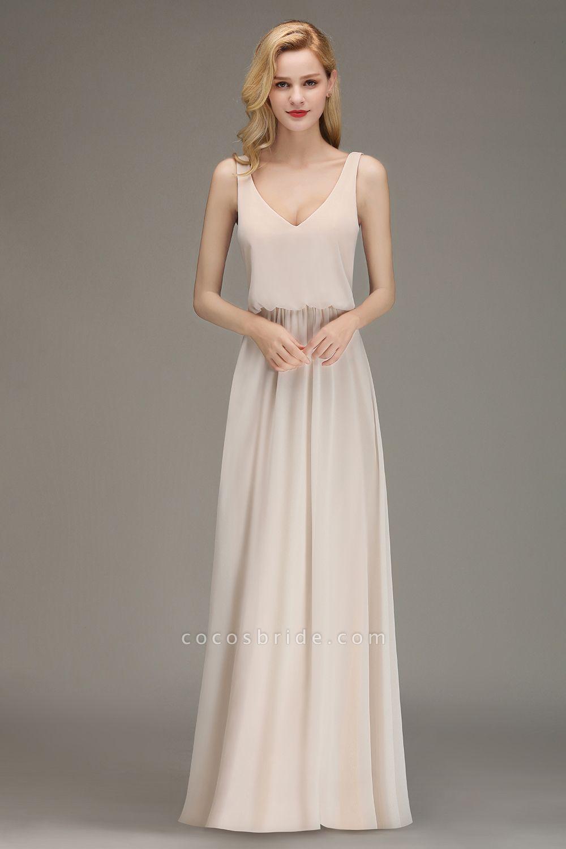 BM0033 Elegant Straps Sexy V-Neck Long Bridesmaid Dress