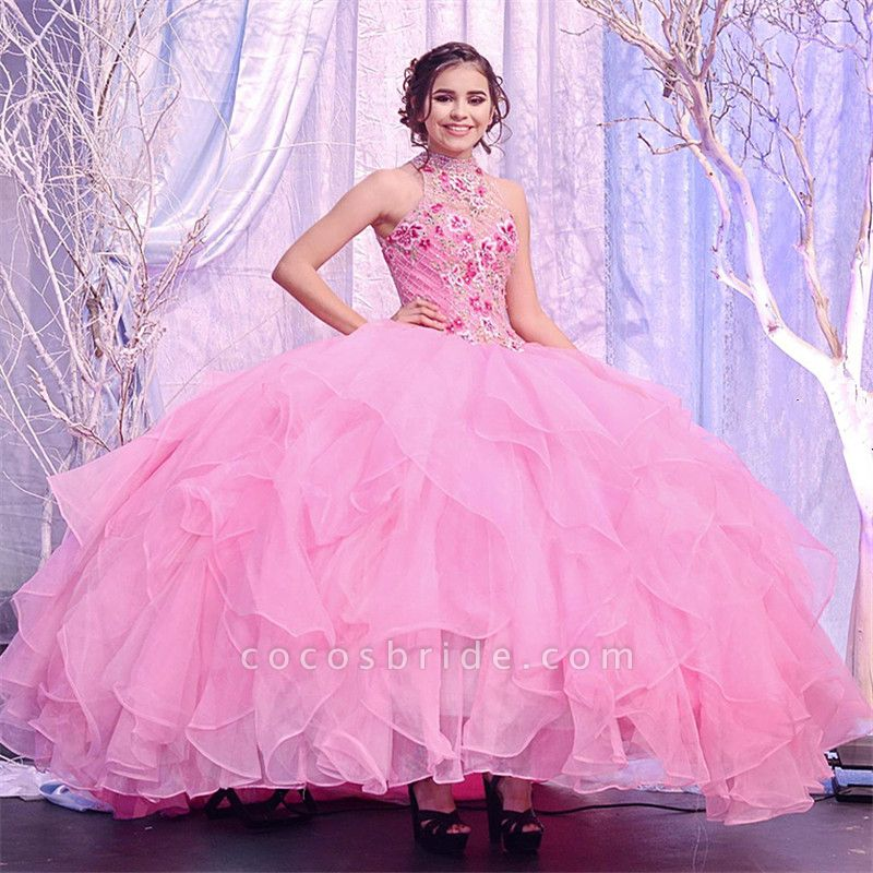 Awesome High Neck Tulle Ball Gown Quinceanera Dress