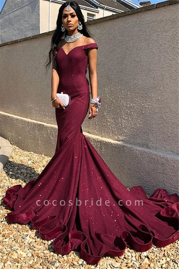 Precious Off-the-shoulder Sequined Mermaid Prom Dress