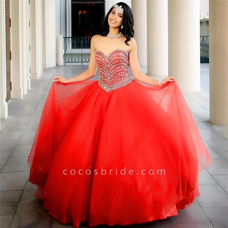 Attractive Sweetheart Tulle Ball Gown Quinceanera Dress