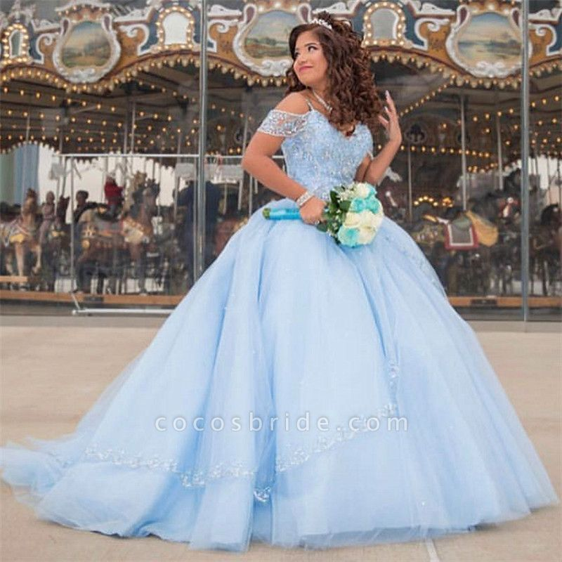 Latest Off-the-shoulder Tulle Ball Gown Quinceanera Dress