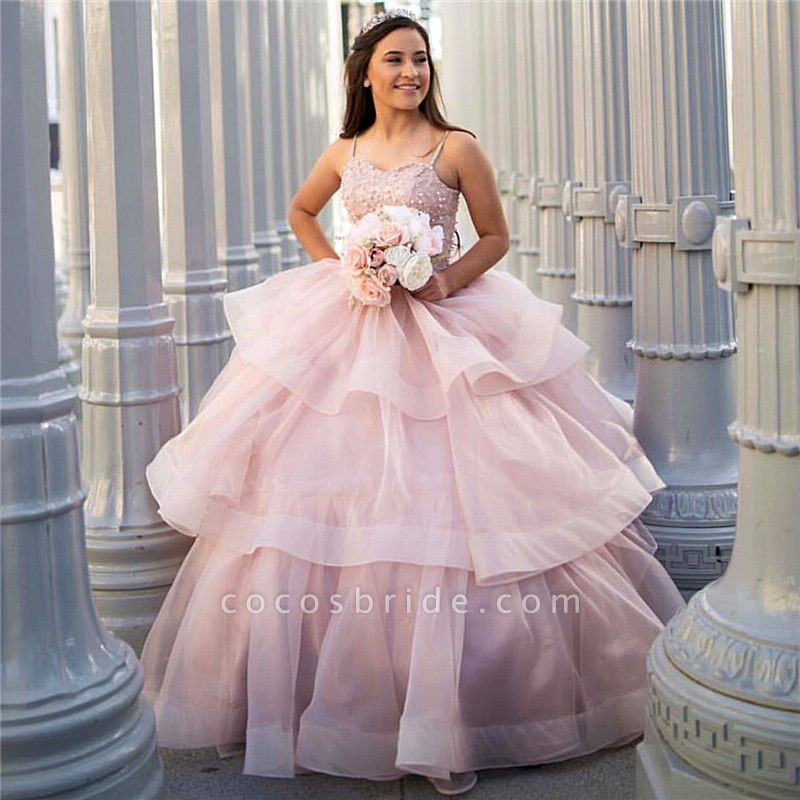 Excellent Spaghetti Straps Organza Ball Gown Quinceanera Dress