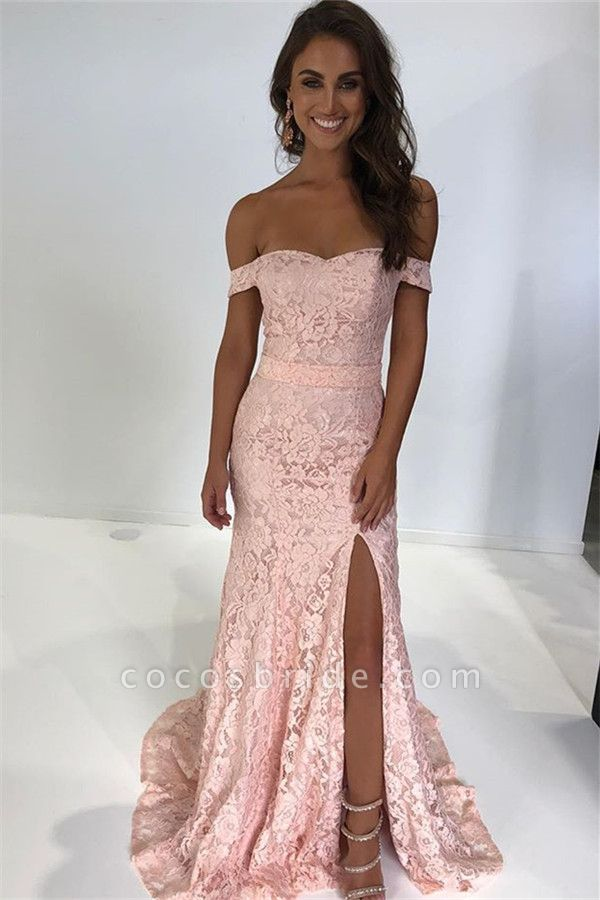 Excellent Off-the-shoulder Lace Mermaid Prom Dress
