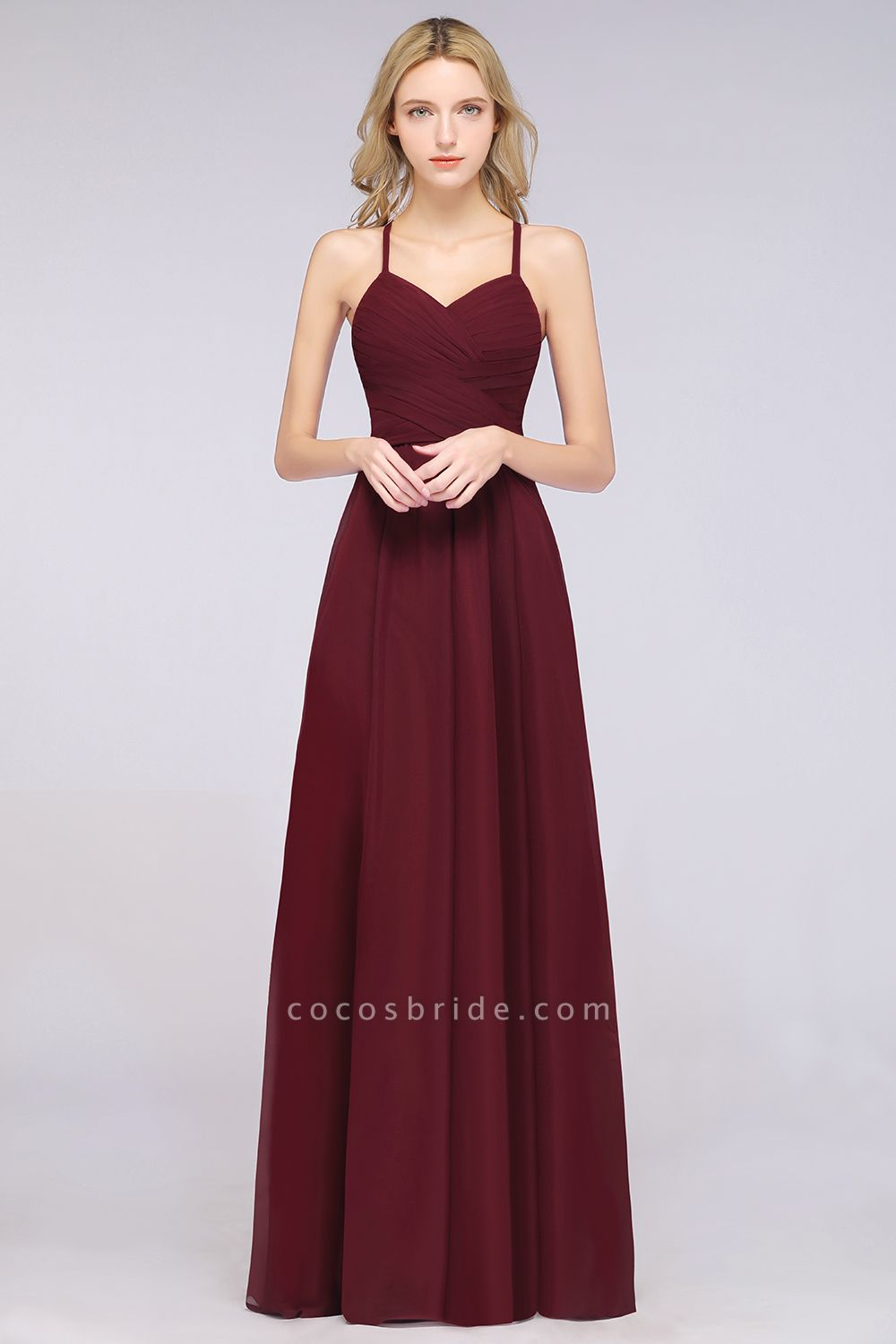 A-Line Chiffon Halter V-Neck Sleeveless Floor-Length Bridesmaid Dress with Ruffles