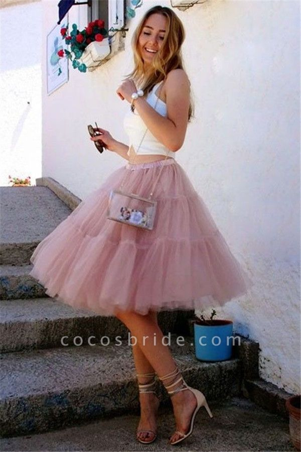 Sttlish Two-Pieces Tulle Sleeveless Homecoming Dress