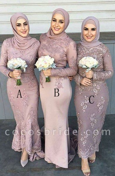 Modern Blush Pink Sadi Arabia Long Bridesmaid Dresses With Sleeve