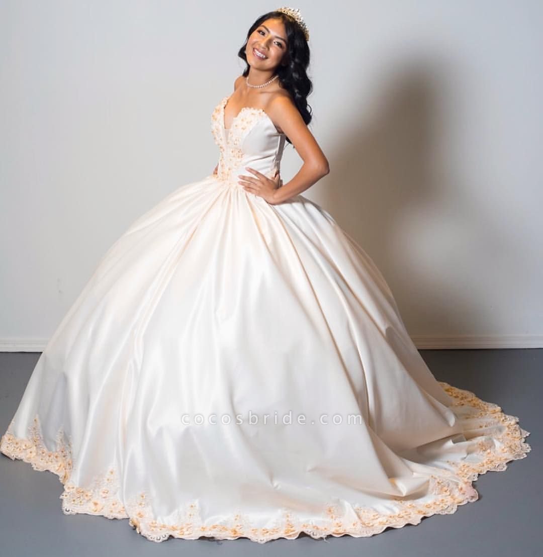 Beautiful Sweetheart Satin Ball Gown Quinceanera Dress