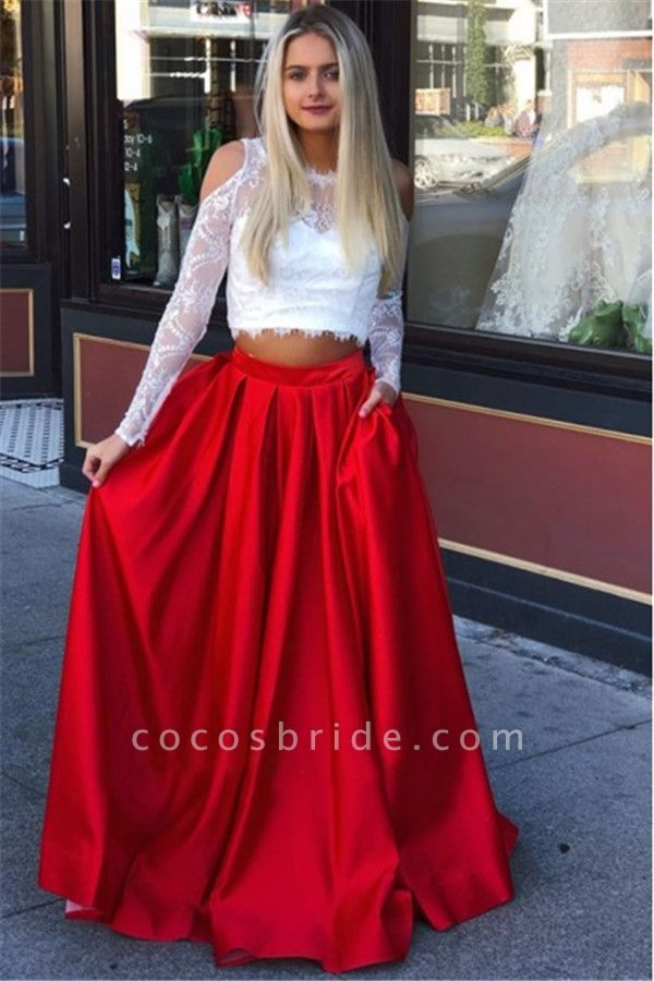 Attractive Jewel Lace Two Pieces Prom Dress
