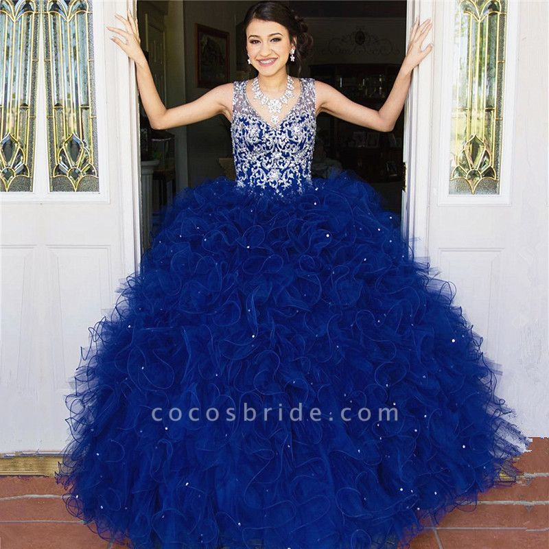 Wonderful V-neck Tulle Ball Gown Quinceanera Dress