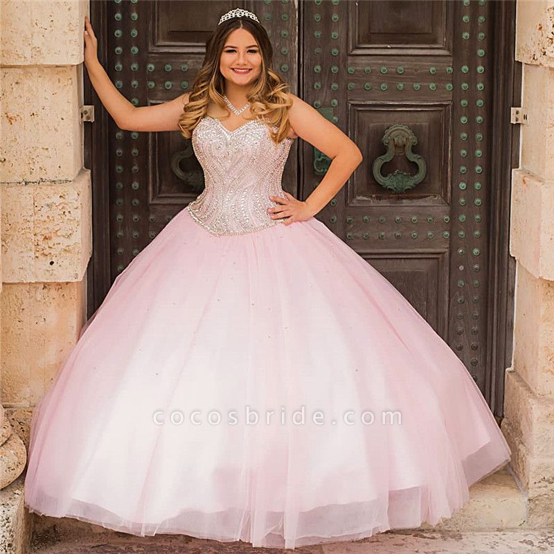 Modest Sweetheart Tulle Ball Gown Quinceanera Dress