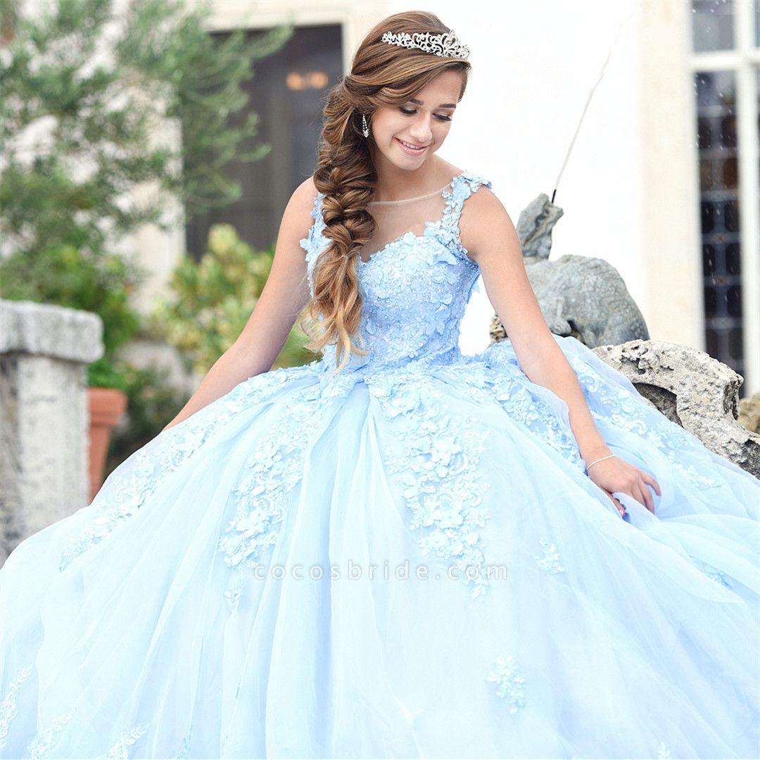 Exquisite Bateau Appliques Ball Gown Quinceanera Dress
