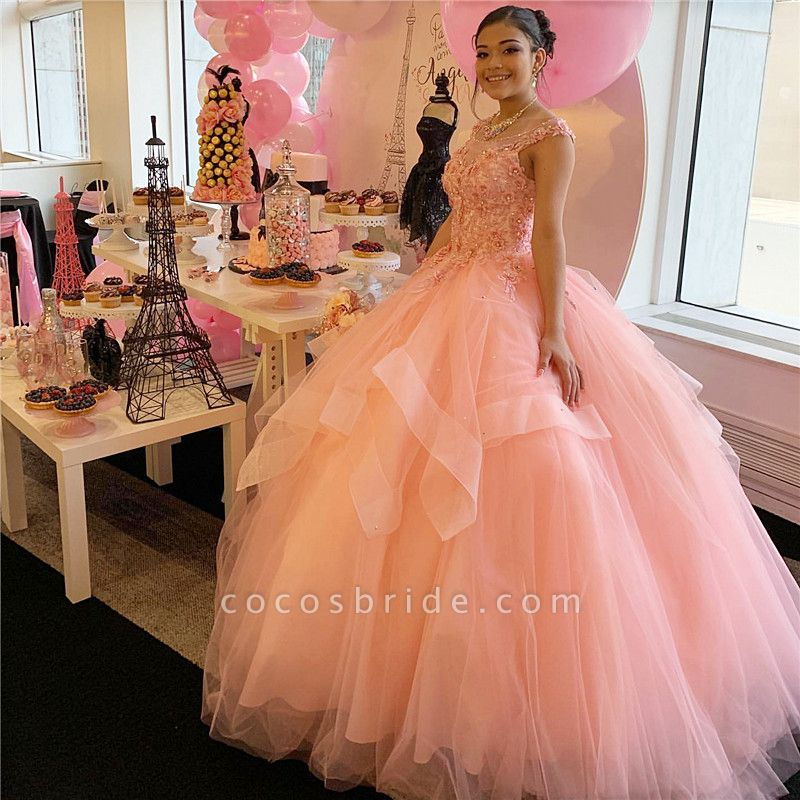 Graceful Scoop Tulle Ball Gown Quinceanera Dress