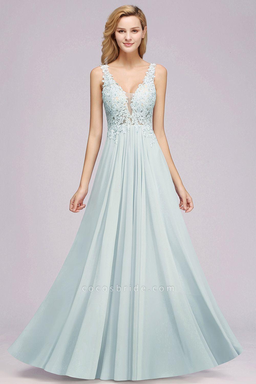 BM0833 Sexy Chiffon Beaded Lace V-Neck Sleeveless Long Bridesmaid Dress