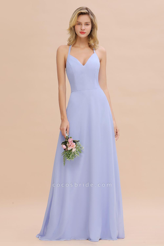 BM0779 Stylish Chiffon Spaghetti Straps Sleeveless Long Bridesmaid Dress