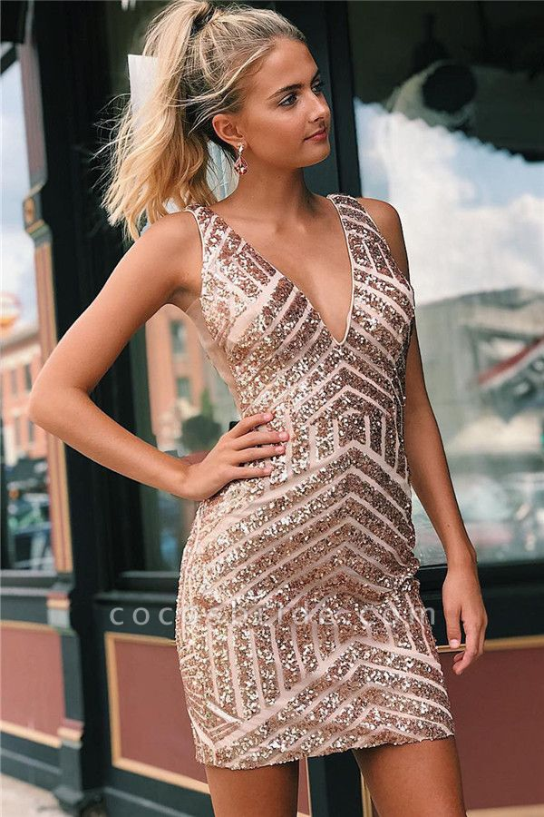 Newly Straps V-Neck Sequins Short Home-Coming Dress