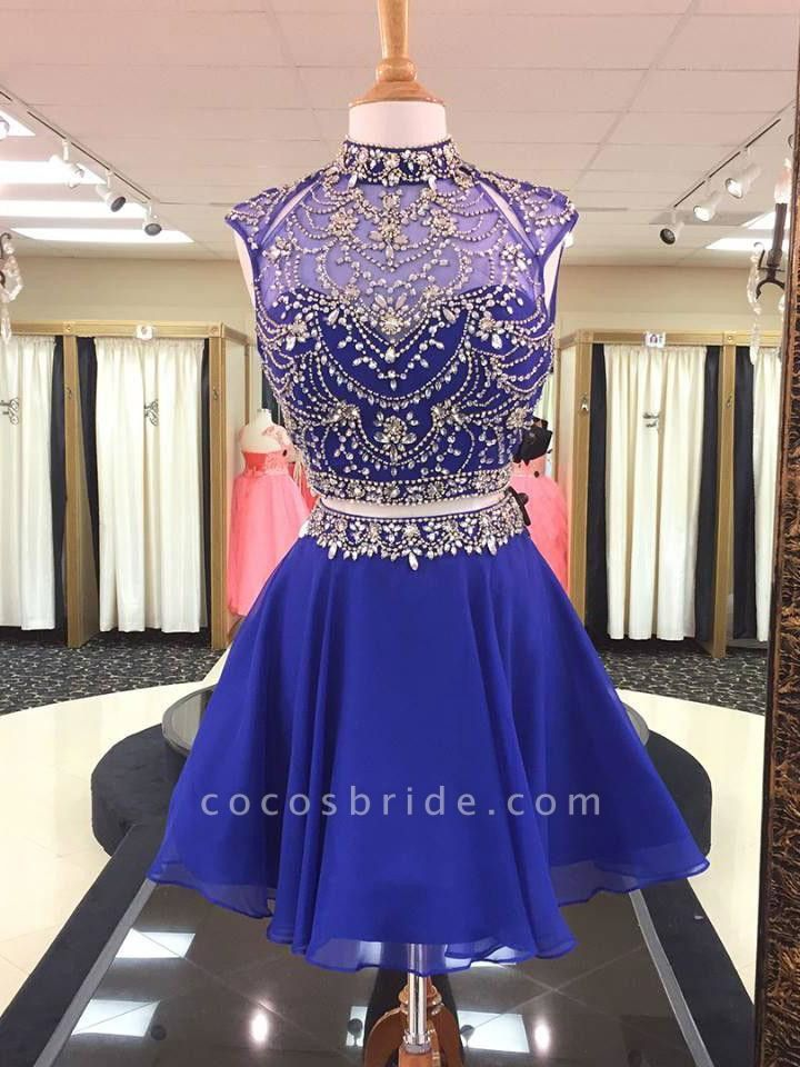 Illusion Two-Pieces High Neck Beading Homecoming Dress