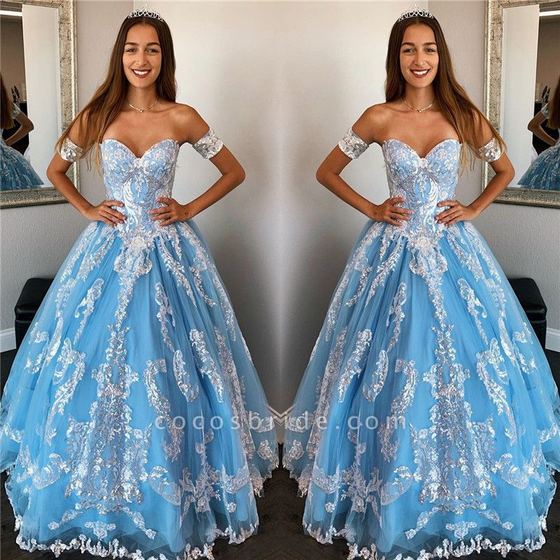 Sleek Off-the-shoulder Tulle Ball Gown Quinceanera Dress