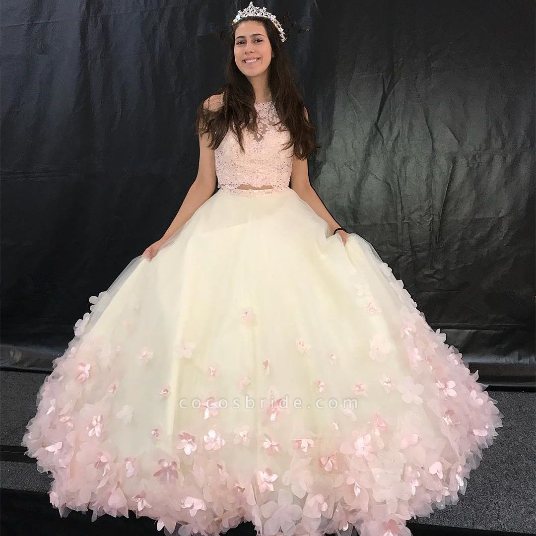 Modest Jewel Tulle A-line Quinceanera Dress