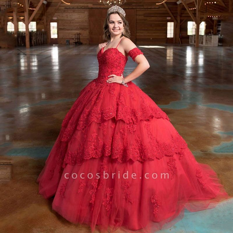 Beautiful Spaghetti Straps Tulle Ball Gown Quinceanera Dress