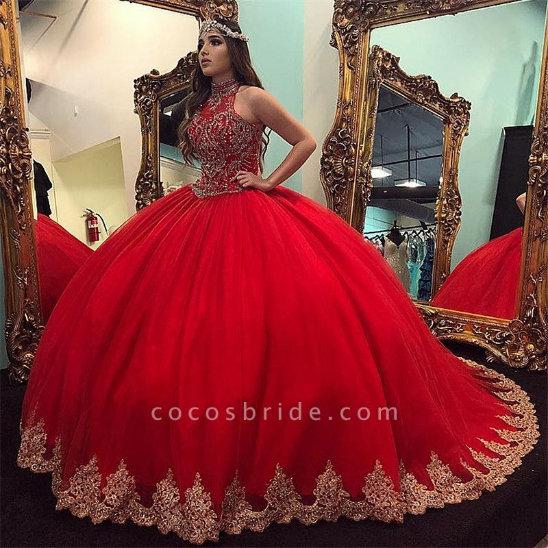 Latest High Neck Tulle Ball Gown Quinceanera Dress