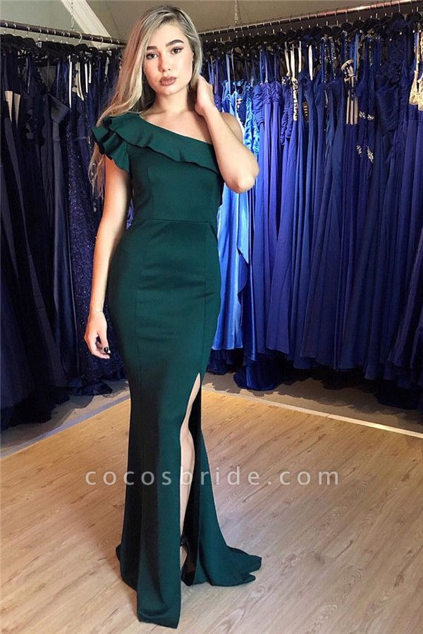 Attractive One Shoulder Split Front Mermaid Prom Dress