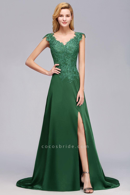 BM0796 A-line Lace Front-Slit Long Bridesmaid Dress