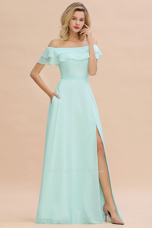 BM0775 Off-the-Shoulder Front Slit Mint Green Long Bridesmaid Dress