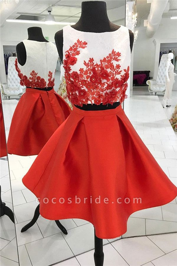 Two-Pieces Red Flowers Jewel Sleeveless Homecoming Dress
