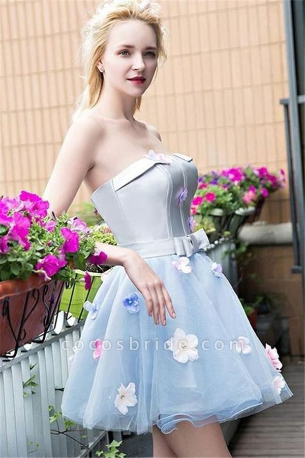 Flowers Strapless Satin Tulle Homecoming Dress