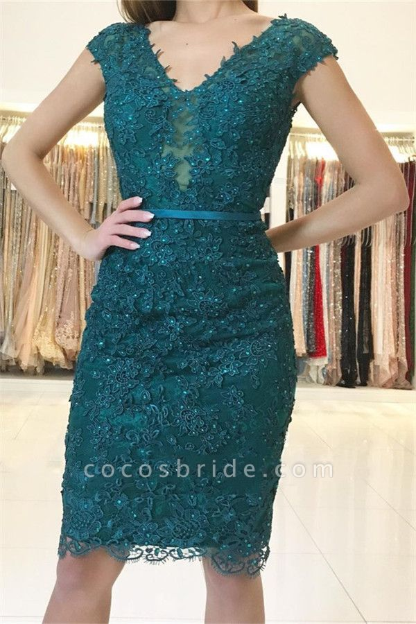 Dark Green Straps Lace Appliques Short Home-Coming Dress