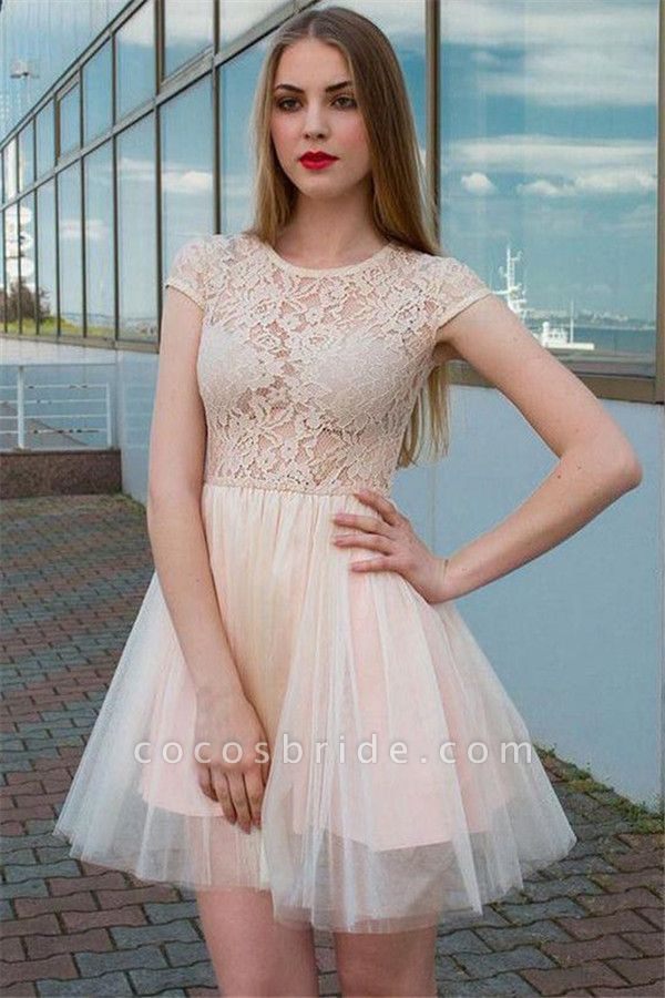 Illusion Lace Tulle Jewel Sleeveless Homecoming Dress
