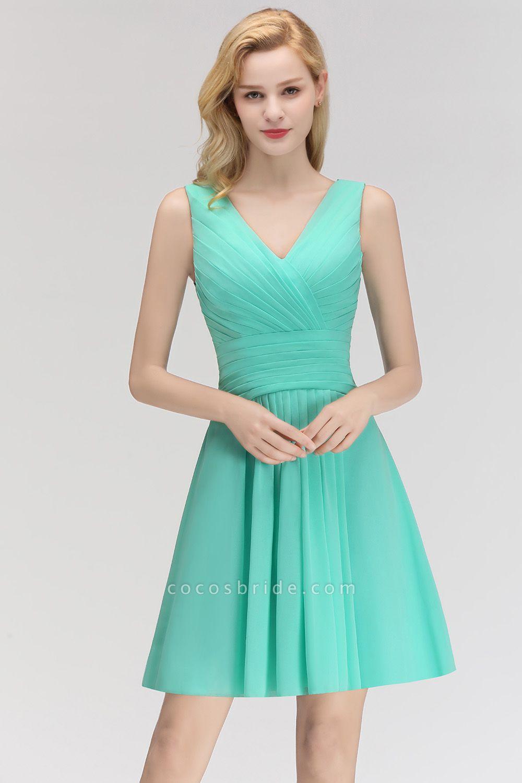 BM0061 A-line Ruffles Sexy V-Neck Sleeveless Short Bridesmaid Dress