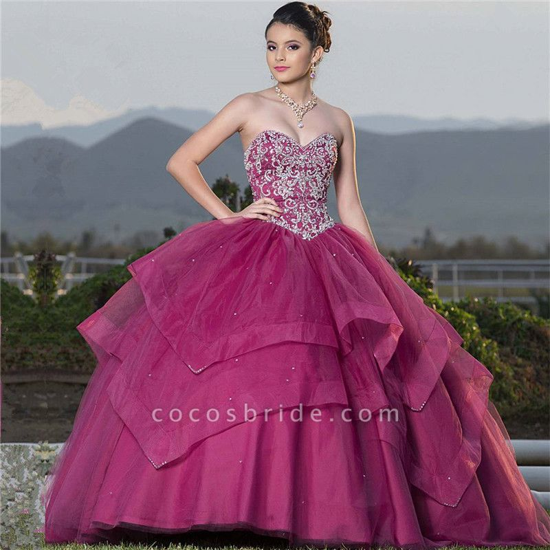 Eye-catching Sweetheart Tulle Ball Gown Quinceanera Dress