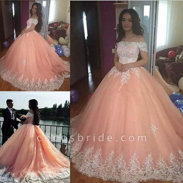 Marvelous Off-the-shoulder Tulle Ball Gown Quinceanera Dress