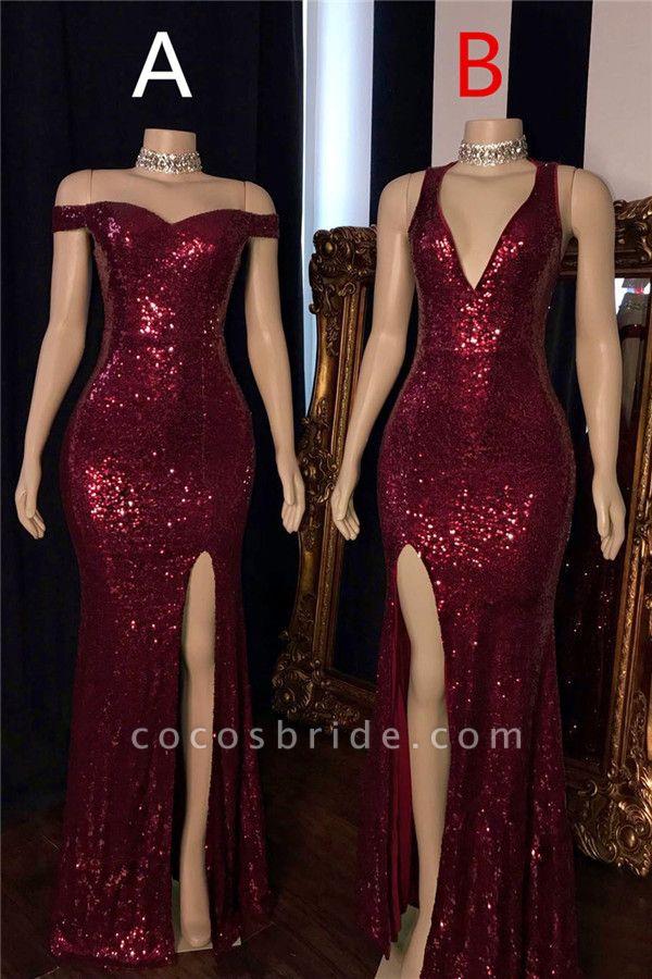 Affordable Off-the-shoulder Split Front Mermaid Prom Dress