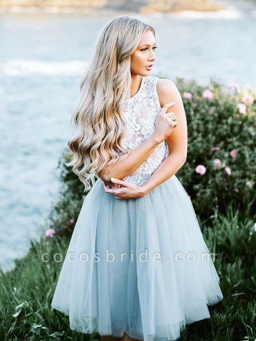 Lace Jewel Sleeveless Homecoming Dress