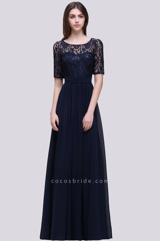 Elegant A-line Chiffon Lace Scoop Half-Sleeve Floor-Length Bridesmaid Dress