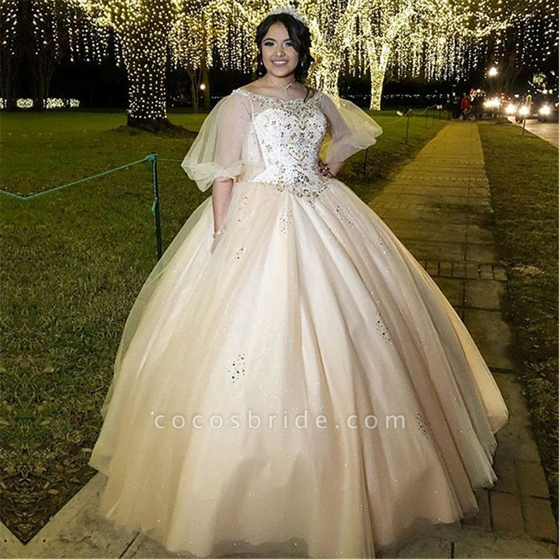 Beautiful Bateau Tulle Ball Gown Quinceanera Dress