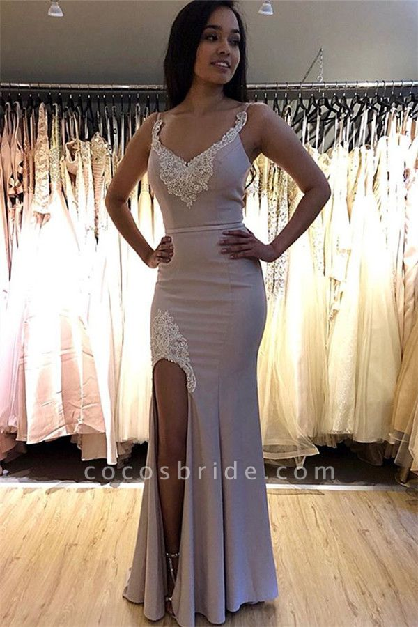Best Spaghetti Straps Split Front Mermaid Prom Dress