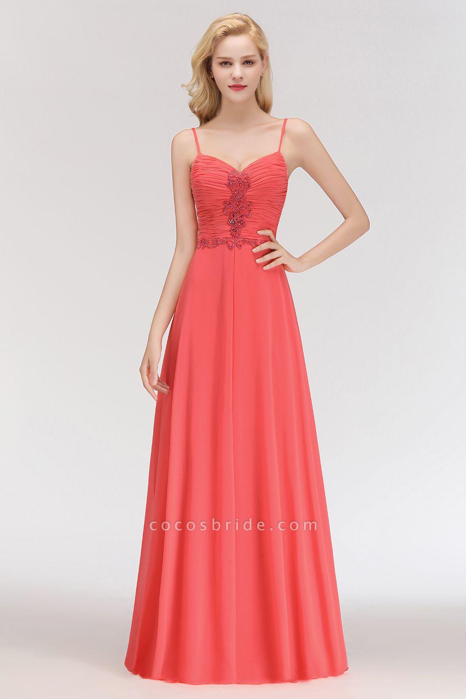 BM0084 Elegant Spaghetti Straps Ruffles Appliques Bridesmaid Dress