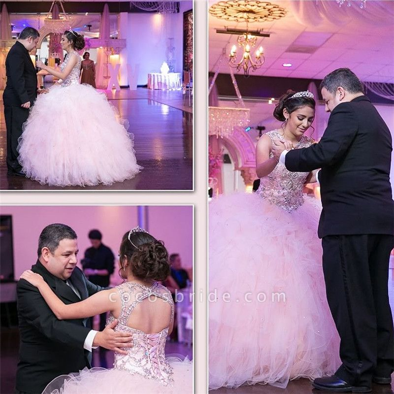 Best Jewel Tulle Ball Gown Quinceanera Dress